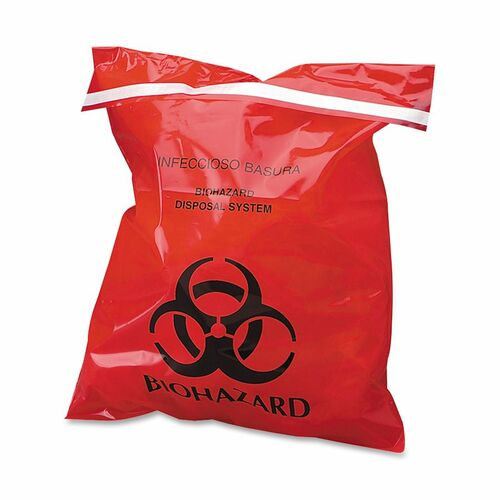 "Stick-On Biohazard Waste Bags, 1.4 qt, 2 mil, 9"" x 10"", Red, 100/Box 