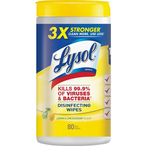 Lysol Disinfecting Wipes Lemon Lime Blossom 80 Quantity Per Canister 1 Each