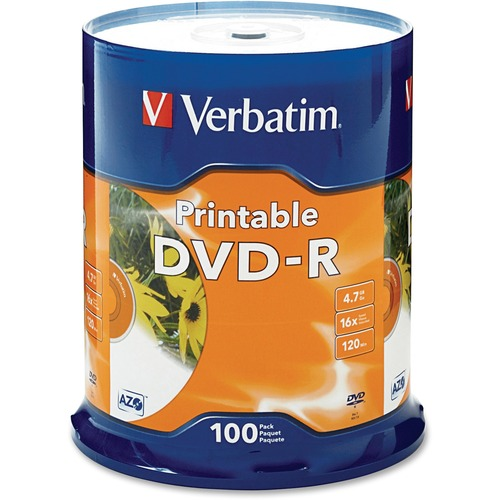 Dvd-r, 16x, 4.7gb, inkjet printable, 100/pk, white, sold as 1 package