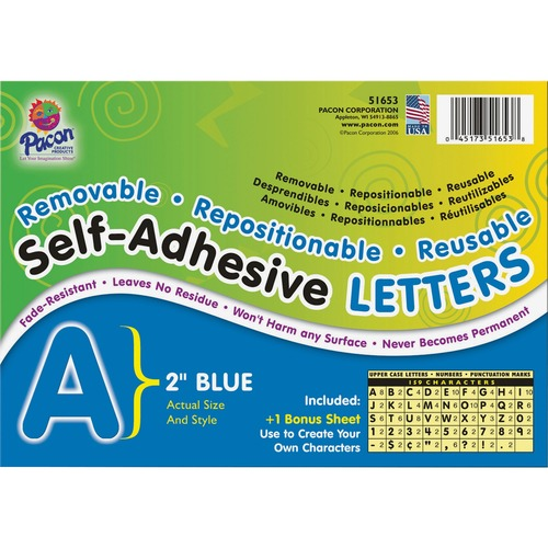 Pacon Colored Self-Adhesive Removable Letters | by Plexsupply