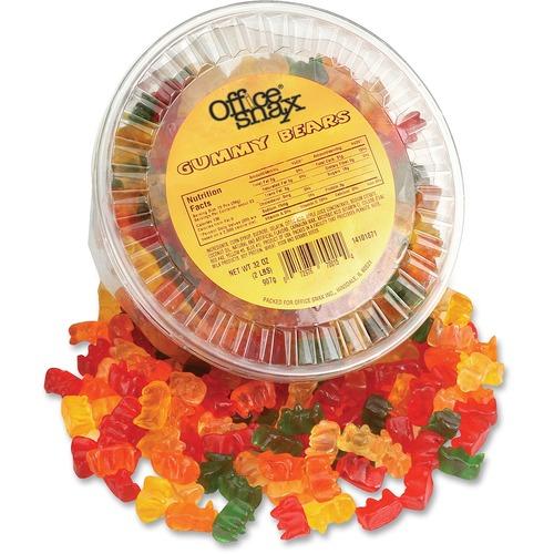 Gummy Bears, Assorted Flavors, 2 lb Tub
