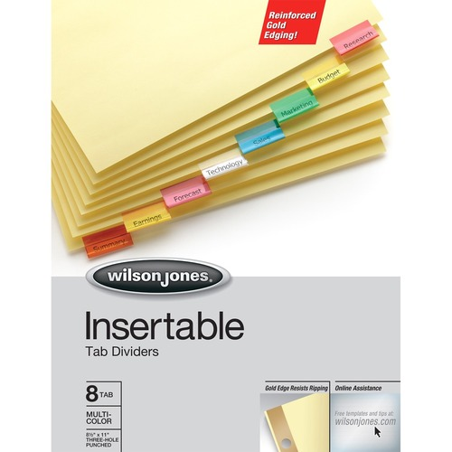Wilson jones - gold pro insertable tab index, multicolor 8-tab, letter, buff sheets, sold as 1 st
