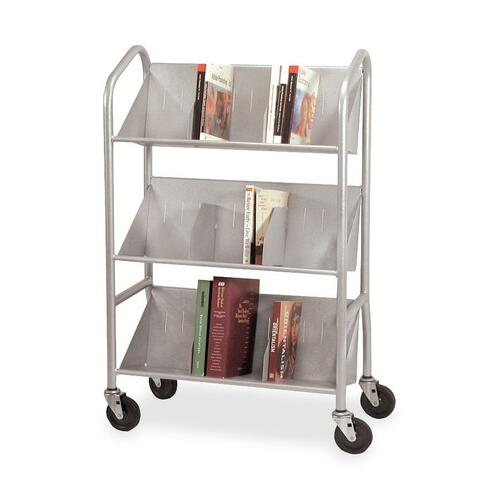 Buddy Products Sloped Shelf Book Cart with Dividers