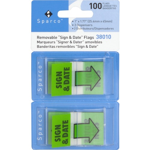 """Sparco """"Sign & Date"""" Preprinted Flags in Dispenser 