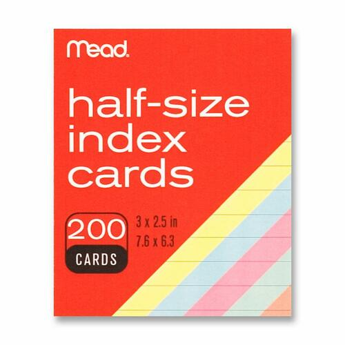 Mead Half Size Color Index Cards | by Plexsupply