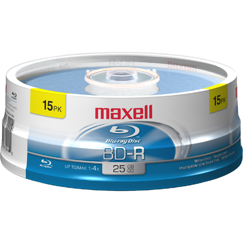 Maxell 631012 Blu-ray Recordable Media - BD-R - 4x - 25 GB - 15 Pack Spindle