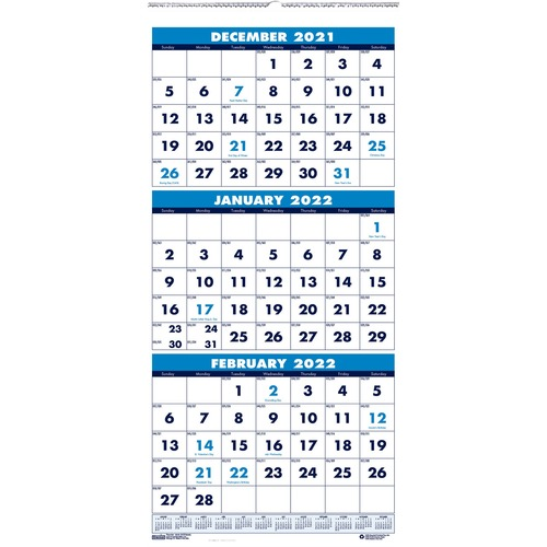 Recycled Three-Month Format Wall Calendar, 12 1/4 x 26, 14-Month, 2019-2021   by Plexsupply