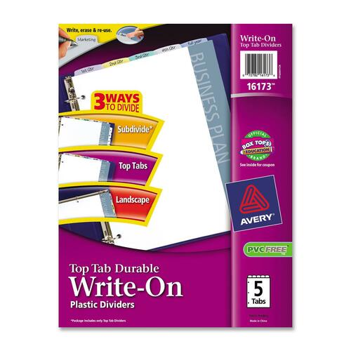Avery Top Tab Durable Write-On Plastic Divider