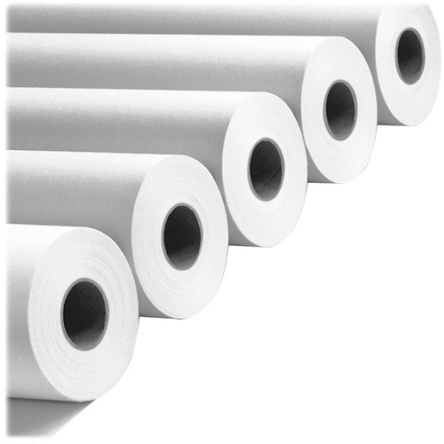 "Amerigo Wide-Format Paper, 3"" Core, 20 lb, 24"" x 500 ft, Smooth White, 2/Pack 