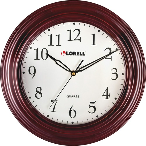 "Lorell 13-1/4"" Mahogany Frame Wall Clock 