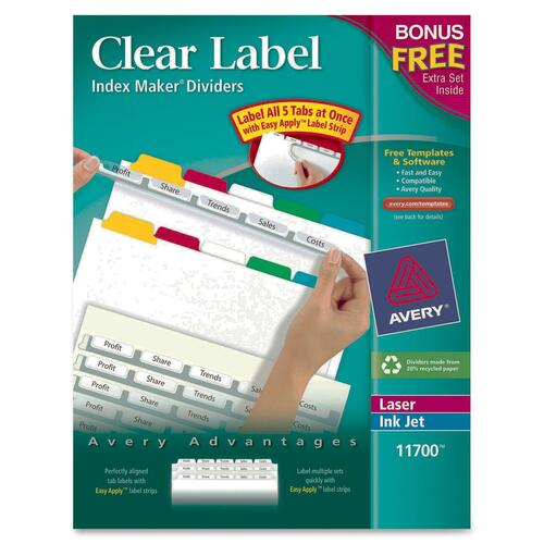 Avery Dennison Clear Label Index Maker Divider