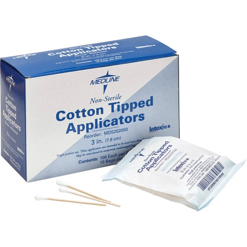"Medline Nonsterile 3"" Cotton Tip Applicator"