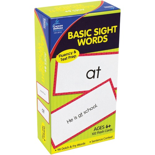 Flash Cards, Basic Sight Words, 3w x 6h, 102/Pack | by Plexsupply