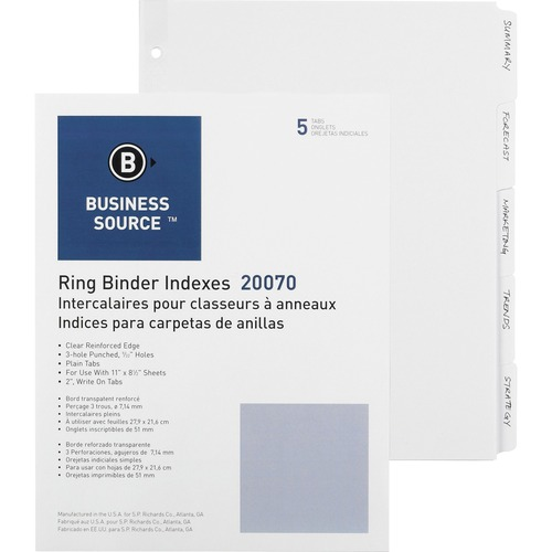 Bus. Source 3-Ring Plain Tab Indexes | by Plexsupply