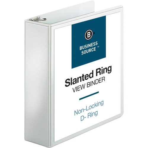 Bus. Source Basic D-Ring White View Binders | by Plexsupply
