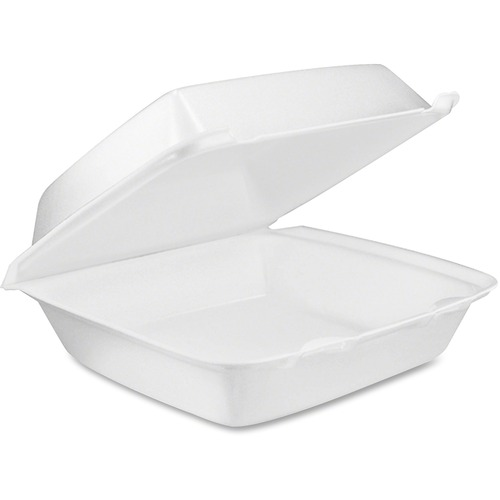 "Hinged foam container,8-3/8""x7-7/8""x3-1/4"",200/ct, white, sold as 1 carton, 25 package per carton"