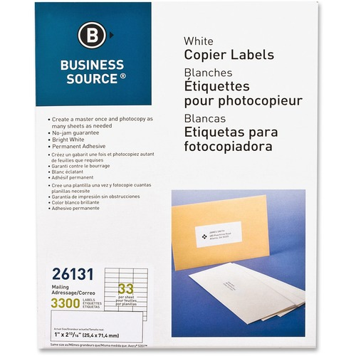Bus. Source Bright White Copier Labels | by Plexsupply