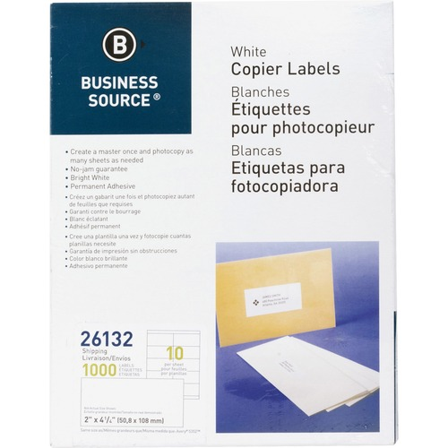 Bus. Source Copier Shipping Labels | by Plexsupply
