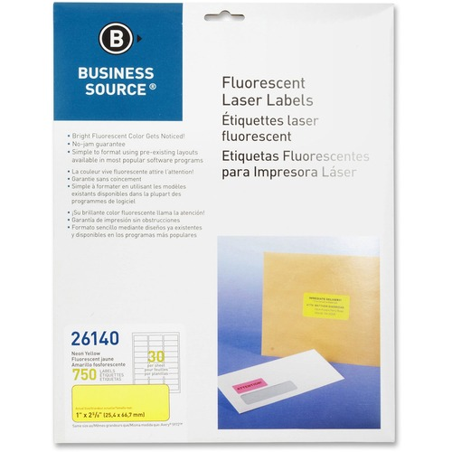 "Bus. Source 1"" Fluorescent Laser Labels 