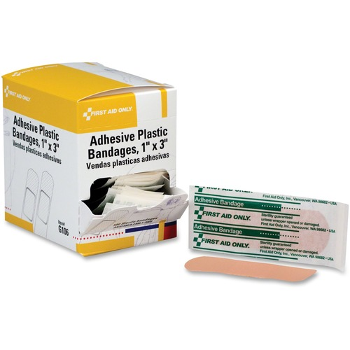 """First Aid Only 1""""x3"""" Plastic Adhesive Bandages"""