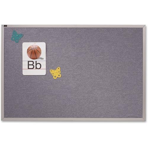Vinyl Tack Bulletin Board, 72 x 48, Blue Surface, Silver Aluminum Frame | by Plexsupply