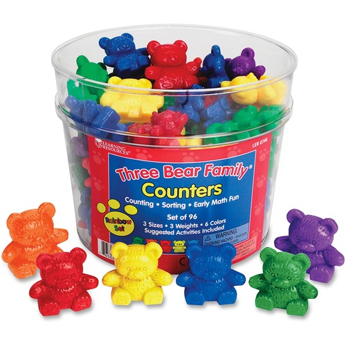 Learning Res. Bear Family Counters Rainbow Set | by Plexsupply