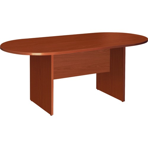 Lorell Essentials Cherry Oval Conference Tables | by Plexsupply