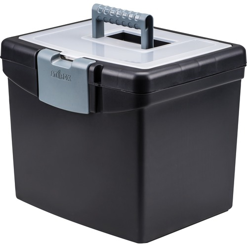 Storex Portable File Box w/Large Organizer Top | by Plexsupply