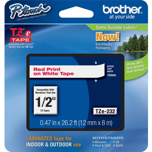 BROTHER - SUPPLIES 12MM RED ON WHITE TAPE FOR P-TOUCH