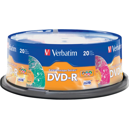 Verbatim Kaleidoscope 97503 DVD Recordable Media | DVD-R | 16x | 4.70 GB | 20 Pack Spindle