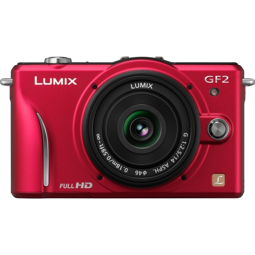 Panasonic Lumix DMC-GF2 12.1 Megapixel Mirrorless Camera with Lens - Red