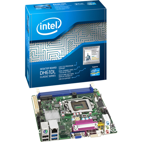 Intel Classic DH61DL Desktop Motherboard - Intel - Socket H2 LGA-1155 - 10 x Bulk Pack