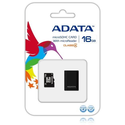 ADATA AUSDH16GCL4-RM3BKBL 16 GB MicroSD High Capacity (microSDHC) - 1 Card - Retail