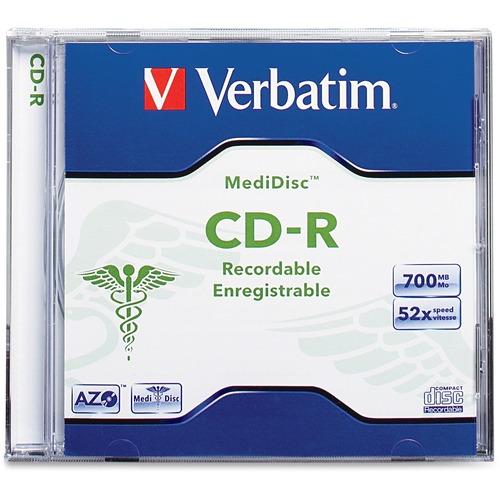 Verbatim MediDisc CD-R 700MB 52X Thermal Printable Branded Surface - 1pk Jewel Case