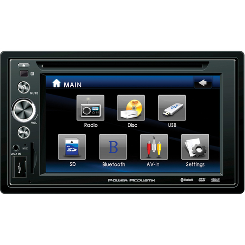 "Power Acoustik PTID-6250B Car DVD Player - 6.2"" Touchscreen LCD Display - 480 x 234 - 56 W RMS - In-dash - Double DIN"