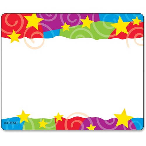 Trend Stars & Swirls Colorful Self-adh. Name Tags | by Plexsupply