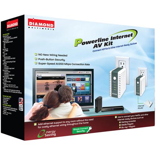 Best Data HP200AV Diamond Multimedia Powerline Internet HDTV AV 200 Mbps Ethernet over Power HomePlug AV Ethernet Adapter