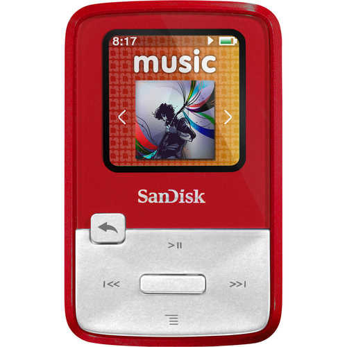 Sandisk Sansa Clip Zip SDMX22-004G-A57R 4 GB Red Flash MP3 Player