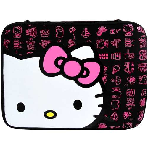 Sakar 20409G-BLK Hello Kitty 10.2-inch Neoprene Sleeve Zippered Laptop Case (Black)