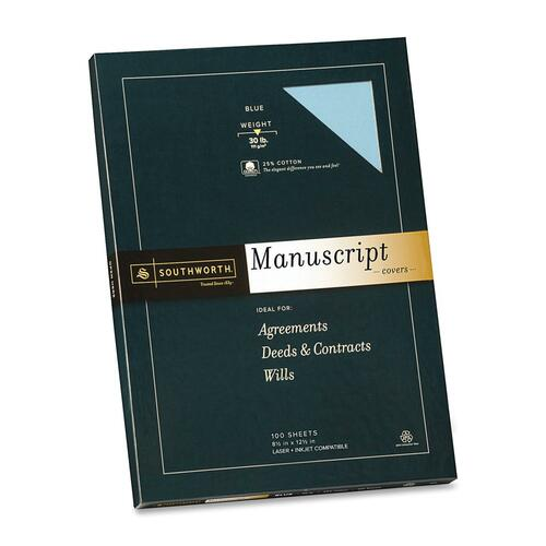Southworth 41SMN 25% Cotton Manuscript Covers, Printable 8.5 x 12.5 inches, Blue, 30 lb, Wove Finish, Box of 100