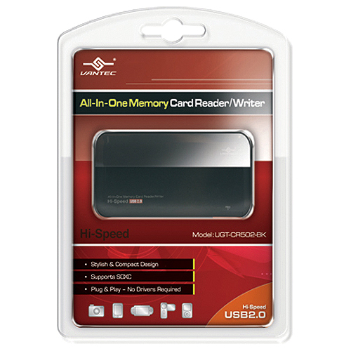 Vantec UGT-CR502-BK 12-in-1 USB 2.0 Flash Reader/Writer