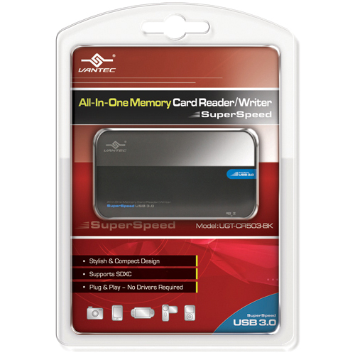 Vantec UGT-CR503-BK 12-in-1 USB 3.0 Flash Reader/Writer