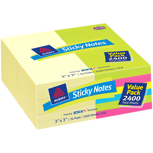 "Avery 22639 Sticky Note Pad, Removable - 3"" x 3"" - Assorted - 24 / Pack"