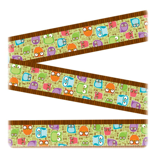 Carson Colorful Owls Design Straight Borders | by Plexsupply