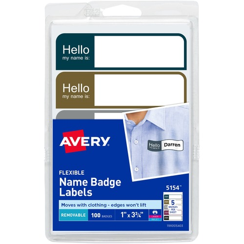 avery flexible adhesive mini name badge labels ave05154