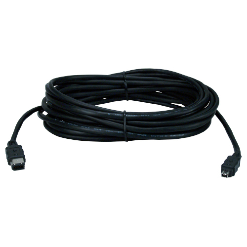 QVS 15ft IEEE1394 FireWire/i.Link 6Pin to 4Pin A/V Black Cable