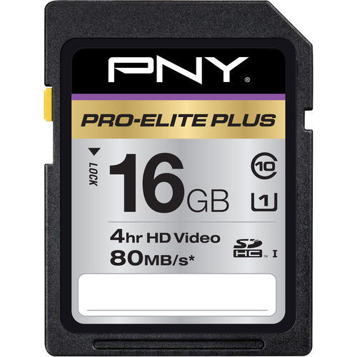 PNY Pro-Elite Plus 16 GB Secure Digital High Capacity (SDHC) - 1 Card