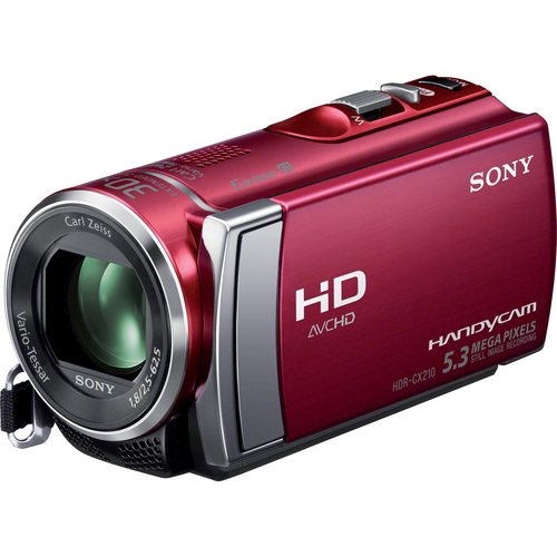 "Sony Handycam HDR-CX210 Digital Camcorder - 2.7"" - Touchscreen LCD - Exmor R CMOS - Full HD - Red"