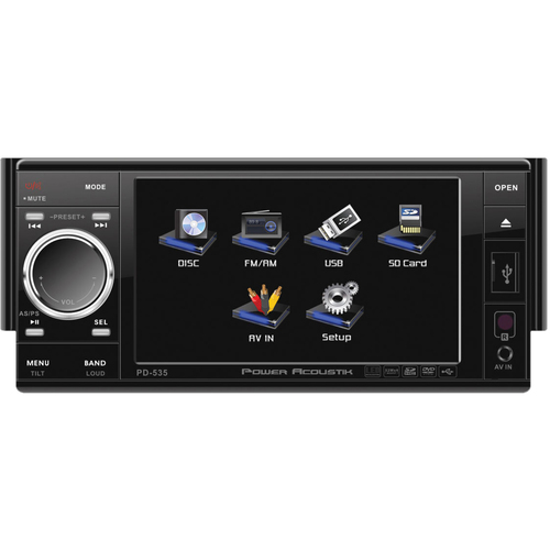 "Power Acoustik PD-535 Car DVD Player - 5.3"" Touchscreen LCD Display - 480 x 272 - 48 W RMS - In-dash - Single DIN"