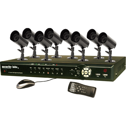 Security Labs 8 Channel 3G/4G H.264 Internet DVR w/ Camera Kit SLM443